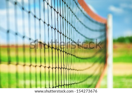 Net for volleyball in summer sports park. - stock photo