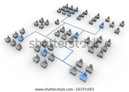 net of different people`s group connected with blue line - stock photo