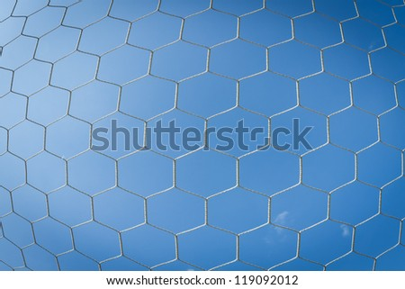 Net of soccer goal attach with blue sky - stock photo