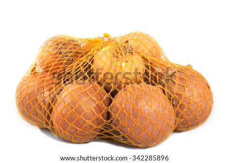 net onions isolated on a white background