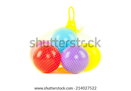Net with Balls multiple colors on white background.