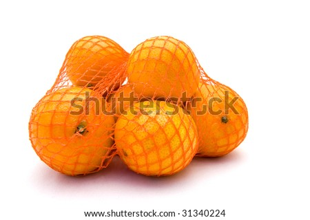 Net with fresh mandarines on a white background