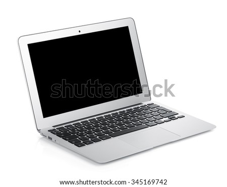 Netbook with black blank screen. Isolated on white background - stock photo