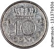 Netherlands 10 Cents Silver Coin Reverse Isolated - stock photo