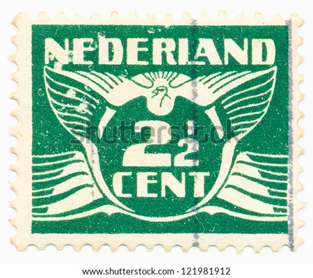 NETHERLANDS - CIRCA 1941: A stamp printed in Netherlands shows the Postage Stamp par 2.5 cents, circa 1941