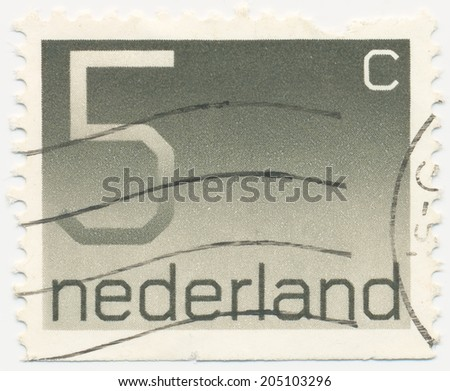 NETHERLANDS - CIRCA 1976: A stamp printed in Netherlands shows the Postage Stamp par 5 cents, circa 1976  - stock photo