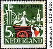 "NETHERLANDS - CIRCA 1963: A stamp printed in the Netherlands from the ""150th anniversary of Kingdom of the Netherlands"" issue shows William, Prince of Orange, landing at Scheveningen, circa 1963. - stock photo"