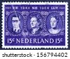 NETHERLANDS - CIRCA 1964: a stamp printed in the Netherlands shows King Baudouin, Queen Juliana and Grand Duchess Charlotte, Benelux, circa 1964   - stock photo