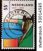 NETHERLANDS - CIRCA 1989: A stamp shows an abstract colourful image celebrating engineering and an Amsterdam postmark, circa 1989 - stock photo