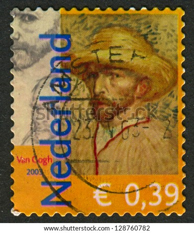 NETHERLANDS - CIRCA 2003: Postage stamp printed in Netherlands dedicated to Vincent van Gogh (1853-1890), Dutch painter, circa 2003. - stock photo