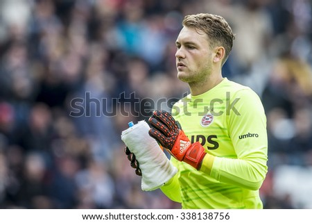NETHERLANDS, EINDHOVEN - November 8th 2015: PSV keeper Jeroen Zoet with he's water bottle and towl at the Philips Stadium during the Dutch Eredivisie match against FC Utrecht