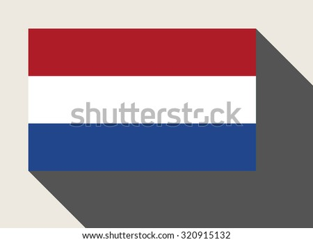 Netherlands flag in flat web design style. - stock photo