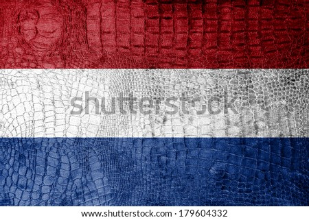 Netherlands Flag painted on luxury crocodile texture - stock photo