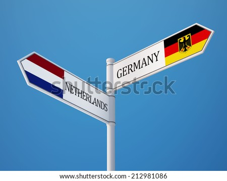 Netherlands Germany High Resolution Sign Flags Concept - stock photo