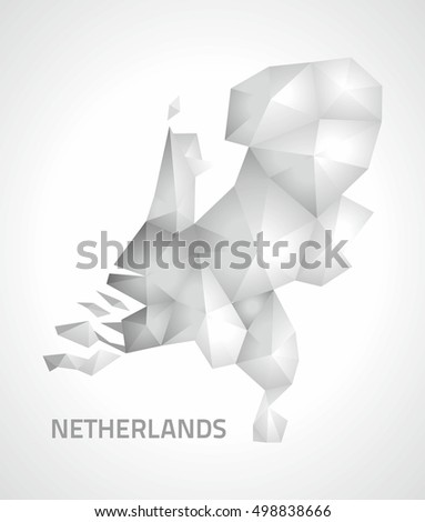 Netherlands polygonal mosaic grey and silver triangle modern map