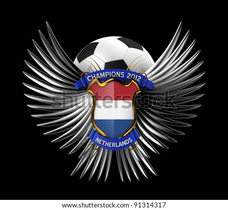 Netherlands Soccer Ball - easy to isolate over black background - stock photo