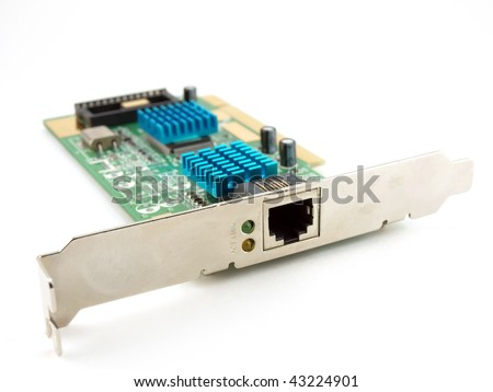 Network adapter with cooling over white - stock photo