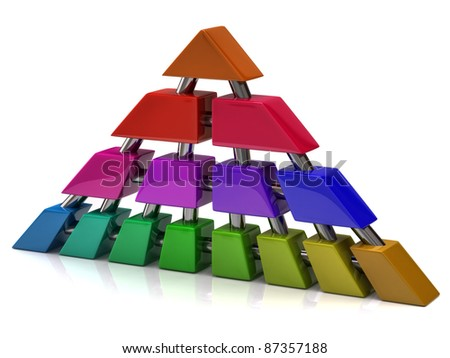 Network and communication pyramid - stock photo