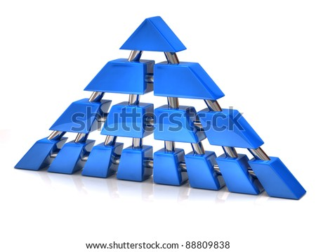 Network and communication pyramid on white background - stock photo