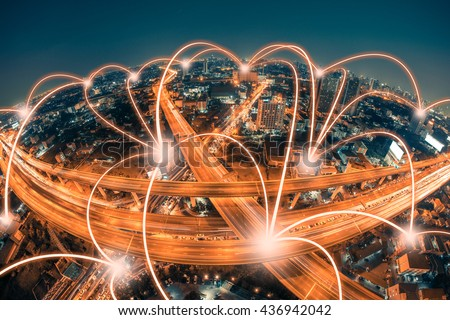Network and Connection technology concept with city background - stock photo