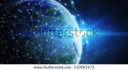 Network and data exchange over planet earth in space 3D rendering elements of this image furnished by NASA
