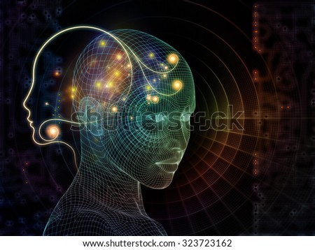 Network Avatar series. Interplay of human heads, lights and grids on the subject of science, artificial intelligence and technology - stock photo