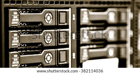 Network cable in data center - stock photo
