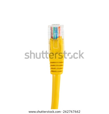 Network cable with RJ45 isolate on white background. - stock photo