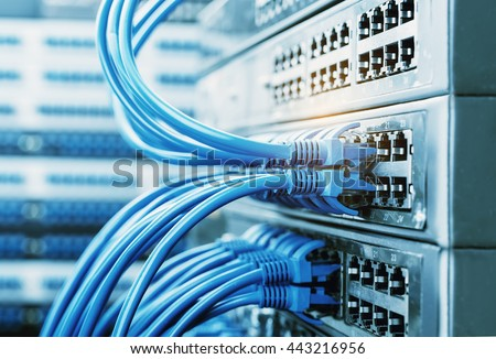 network cables connected in network switches  - stock photo