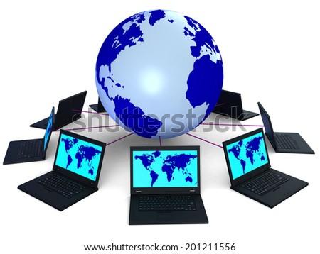 Network Computer Indicating World Globalise And Globe - stock photo