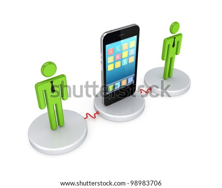 Network concept.Isolated on white background.3d rendered.