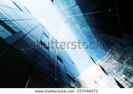 network connection between modern office buildings - stock photo