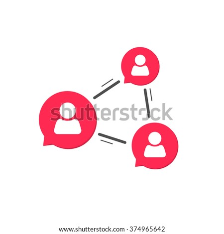 Network connection symbol, social service concept, abstract network people chatting, concept of community relationship, relation, conference communication service simple flat design isolated image - stock photo