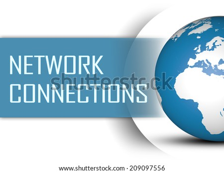 Network Connections concept with globe on white background