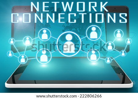 Network Connections - text illustration with social icons and tablet computer and mobile cellphones on cyan digital world map background - stock photo