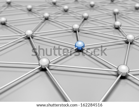 Network 3d illustration single blue sphere standing out - stock photo