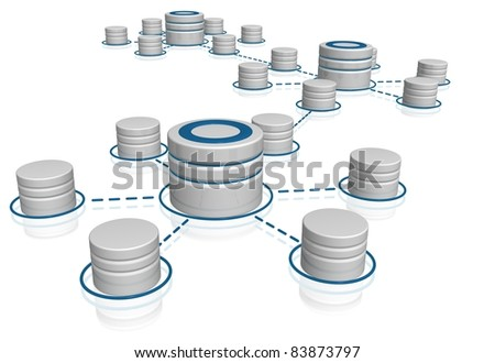 Network database with wired data cables interconnections - stock photo