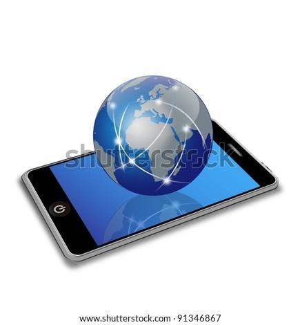 network earth on smart phone - stock photo