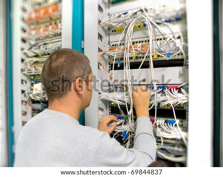 Network engineer solve the problem - stock photo