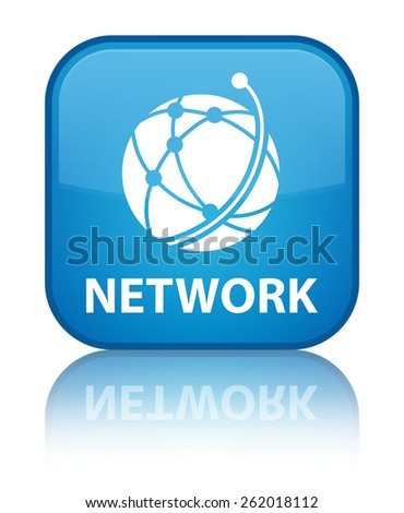 Network (global network icon) cyan blue square button - stock photo