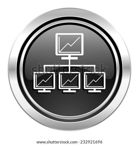 network icon, black chrome button, lan sign  - stock photo
