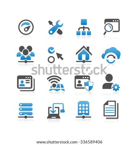 Network icon set - Flat Series - stock photo