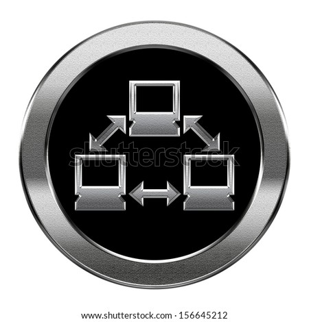 Network icon silver, isolated on white background. - stock photo