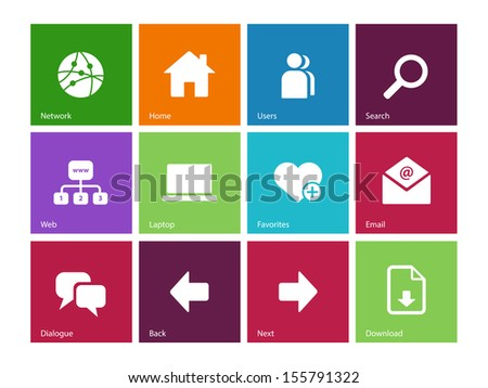 Network icons on color background. See also vector version. - stock photo