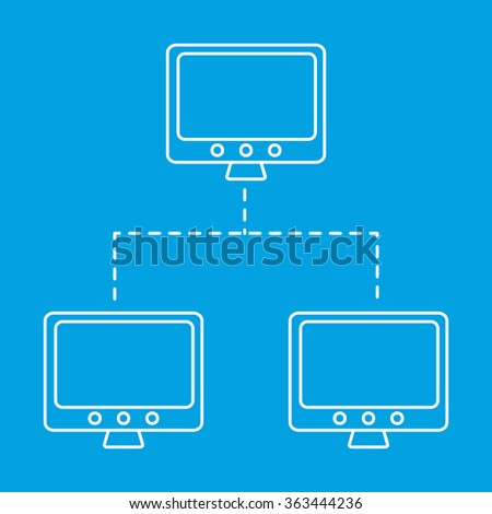 Network line icon. The main and connected computers single symbol on a blue background - stock photo