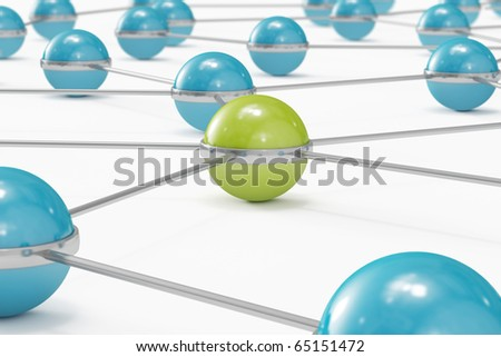 Network made out of blue balls with green one standing out close-up - stock photo