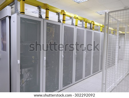 Network  modern server room with computers for digital communications and internet