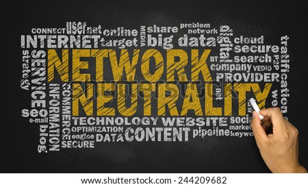 network neutrality word cloud with related tags - stock photo