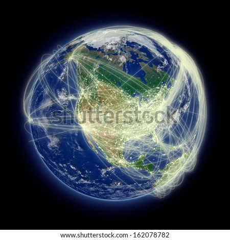 Network of flight paths over North America. Highly detailed planet surface. Elements of this image furnished by NASA. - stock photo