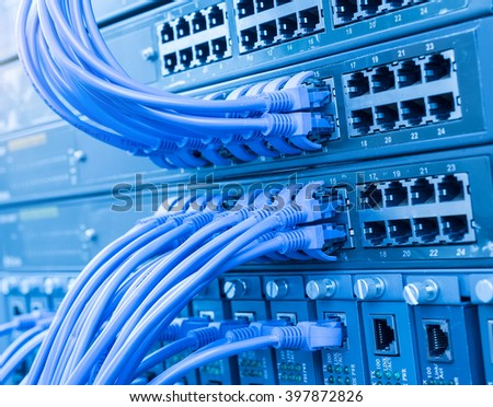 Network panel hub and cables,Data Center Concept. - stock photo